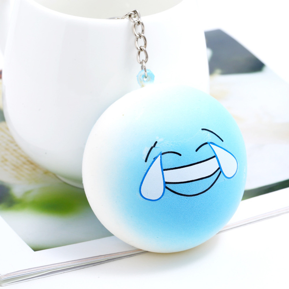 Blue Laughing Crying Slowly Rebound Keychain Hot Bule Kawaii Super Rising Scented Relieve Stress Toy Keychain Toy L0110