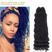 Goddess Hair Ombre Faux Locs Crochet Braids 20inch Soft Natural Braid Synthetic Braiding Hair Extension Wavy Faux Locs In Bulk(China)