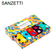 SANZETTI 5 Pairs/2020 Colorful Bright Men's Combed Cotton Socks Novelty Cool S