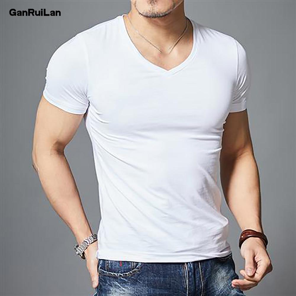 2021 New Top Tees Man T Shirt Fitness T shirts Mens V neck Man T shirt For Male Tshirts M 4XL Plus size B0667