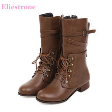 2019 Brand New Sexy Black Brown Women Mid Calf Motorcycle Boots Vouge Chunky Heels Office Lady Shoes LY272 Plus Big Size 10 43(China)