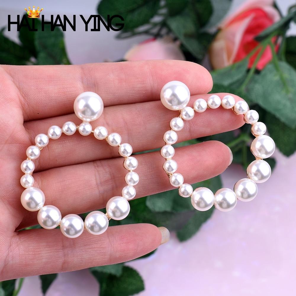 Fashion Round Pendant Earrings For Women Pearl Earrings Statement Gold Jewelry Wedding Earrings For Women Big Round Drop Earring