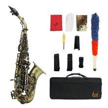 Саксофон сопрано Bb в винтажном стиле, саксофон из латуни, инструмент с текстурой древесины, аксессуар с искусственной щеткой, ремешок для саксофона, мундштук