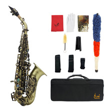 Vintage Style Bb Soprano Saxophone Sax Brass Material Woodwind Instrument with Case Gloves Cleaning Cloth Brush Sax Strap Mouthp