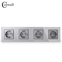COSWALL Wall Crystal Glass Panel 4 Gang Power Socket Grounded 16A EU Standard Grey Color Outlet With Children Protection Door