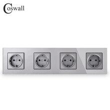 Coswall Muur Crystal Glass Panel 4 Gang Stopcontact Geaard 16A Eu Standaard Grey Kleur Outlet Met Kinderen Bescherming Deur