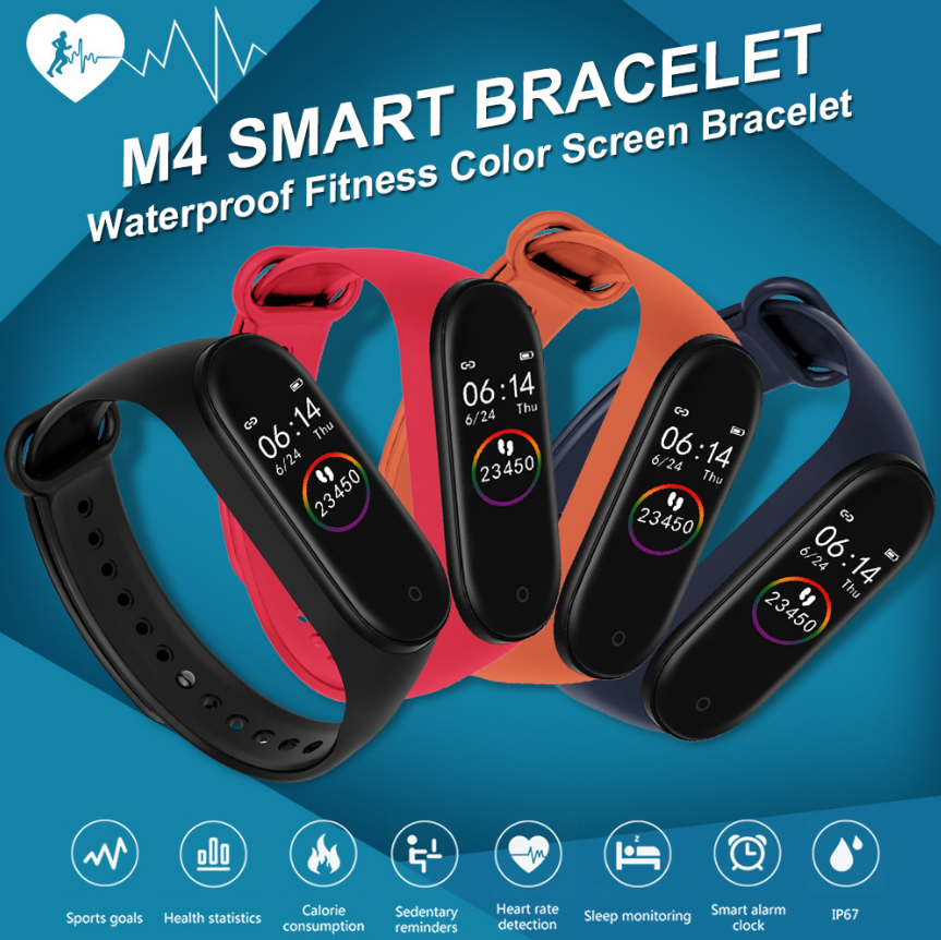 Smart Watch Men M Band 4 Smart Wristband Heart Rate Blood Pressure Health  Smartwatch Fitness Tracker Wristband Tactile Bracelet