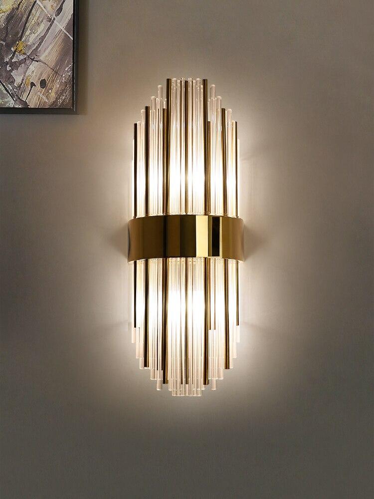 Современная креативная Хрустальная настенная лампа, Золотая Роскошная домашняя прикроватная лампа для гостиной, светодиодная колонка