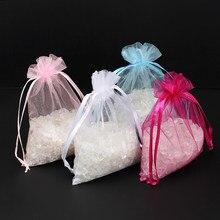 50 adet/grup 7x9cm İpli organze çanta takı ambalaj poşetleri şeker düğün noel çanta toptan hediyeler torbalar