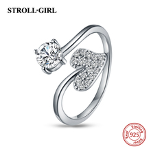 StrollGirl 100% 925 Sterling Silver Heart Shape Clear CZ Open size Ring Adjustable Ring For Women Jewelry Valentines Day's Gifts strollgirl authentic 925 sterling silver infinite heart shape ring adjustable open rings luxury sterling silver jewelry 2019