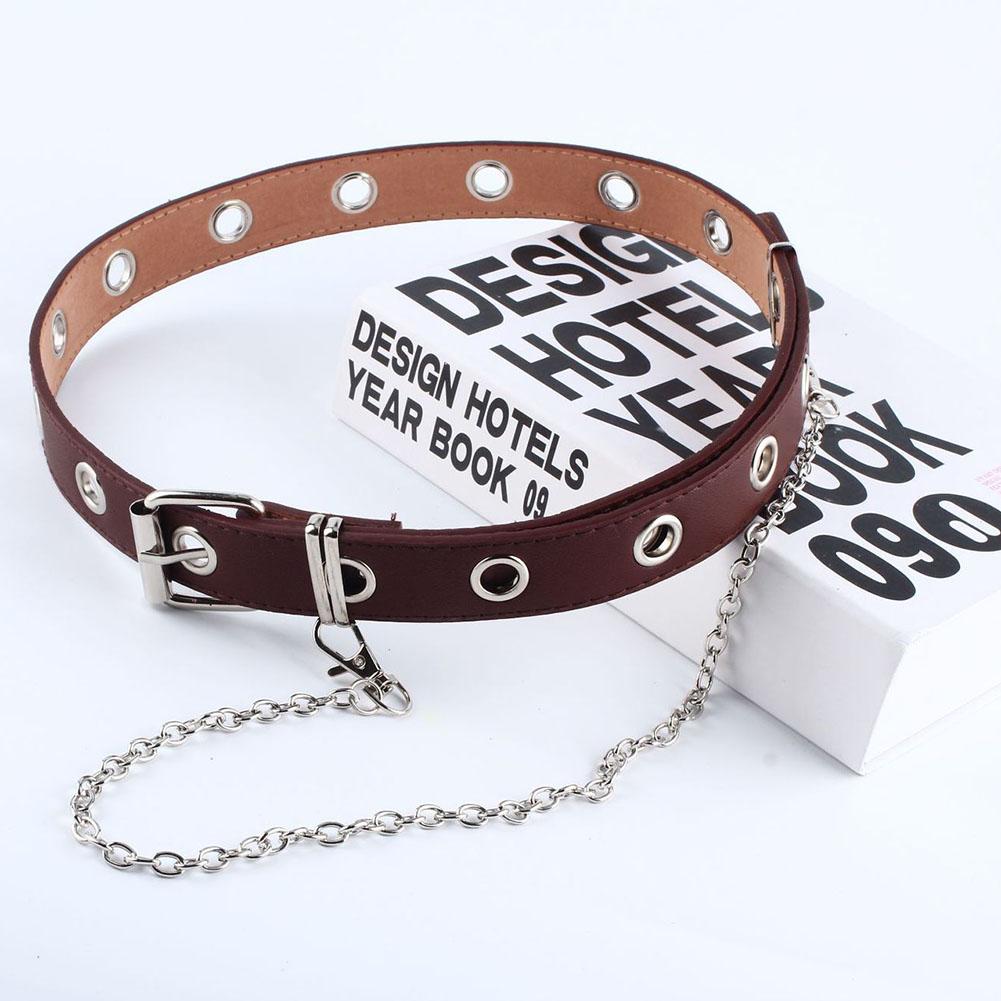 Women Punk Chain Fashion Belt Adjustable Double/Single Row Hole Eyelet Waistband with Eyelet Chain Decorative Belts 2020 New