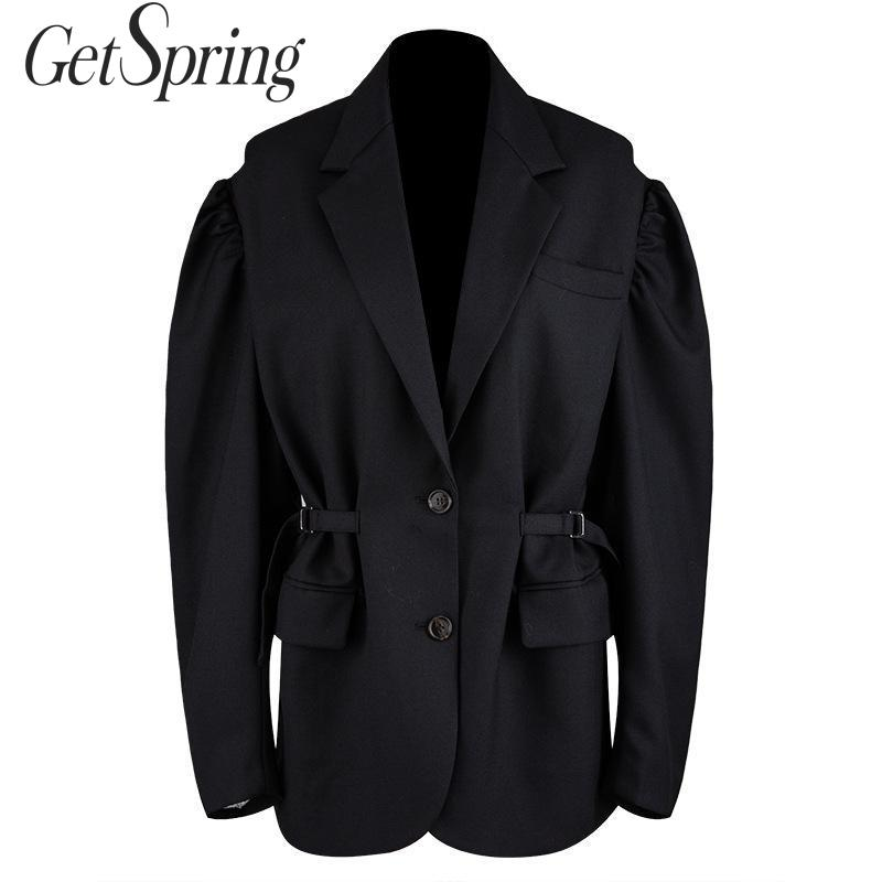 GetSpring Women Blazer Single Breasted Long Sleeve Ladies Black Blazer Coat Belt Loose Female Suit Jacket Chic Womens Jacket New