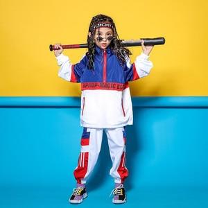 Image 5 - Kid Blue White Jacket Jogger Pants Hip Hop Clothing Clothes Jazz Dance Costume for Girls Boys Ballroom Dancing Streetwear