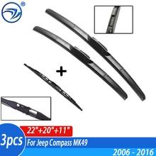 """Kit Set spazzole tergicristallo anteriore e posteriore per Jeep Compass MK49 2006   2016 parabrezza parabrezza 22 """"20"""" 11"""""""