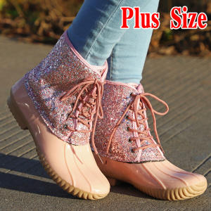 Jelly Shoes Women Sexy Ankle Boots Bling Sequin Female PVC Water Shoes Boots for Women Rain Booties Mujer Plus Size
