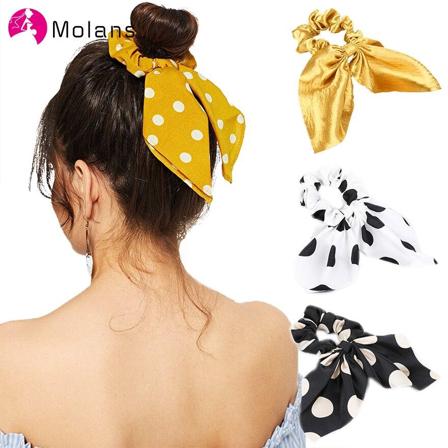 Molans Korean Simple Soild Hair Rope Dots Printed Chiffon Bunny Ear Scrunchy Hair Ties Women Hair Scrunchies With Bow