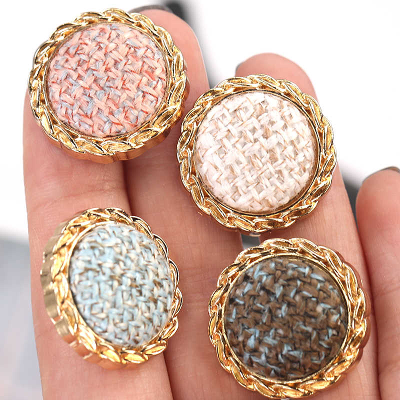 6 Pieces 20mm 25mm Vintage Fashion Brand Buttons for Women Clothing Suit Golden Metal Button Sew on Clothes Decorative Sewing