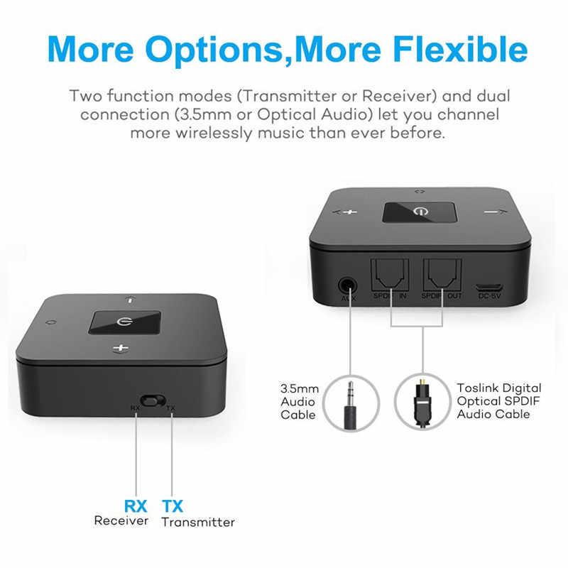 Bluetooth 5.0 nadajnik-odbiornik bezprzewodowy 3.5mm RCA optyczny Adapter Audio dla krótki czas oczekiwania podwójnego łącza do TV Home stereo