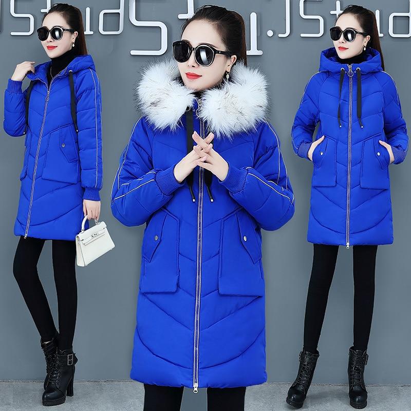 New 2019 Winter Jacket Womens Down Cotton Coats Clothing Women Winter Korean Loose Long Hooded   Parkas   Female Outwear