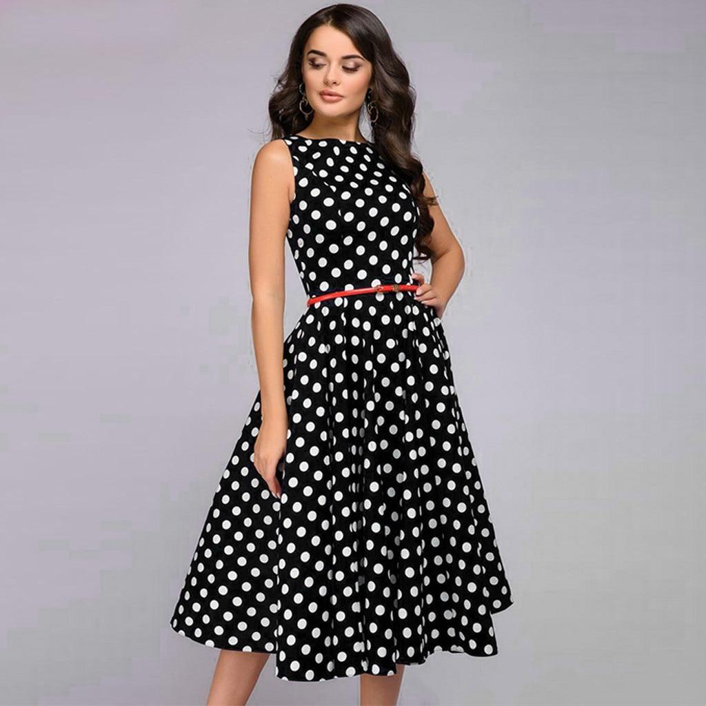 Elegant Vintage Dot Printing A Line Dress Women Summer Sleeveless O Neck Mid Calf Casual Dress