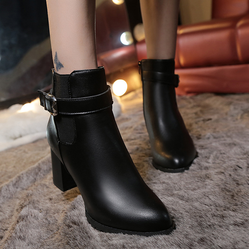 <font><b>Women</b></font> <font><b>Ankle</b></font> <font><b>Boots</b></font> <font><b>Winter</b></font> Suede High Heels <font><b>Boots</b></font> Ladies Fashion Pointed Toe Gladiator Black Leather <font><b>Shoes</b></font> <font><b>For</b></font> Woman Plus Size 42 image