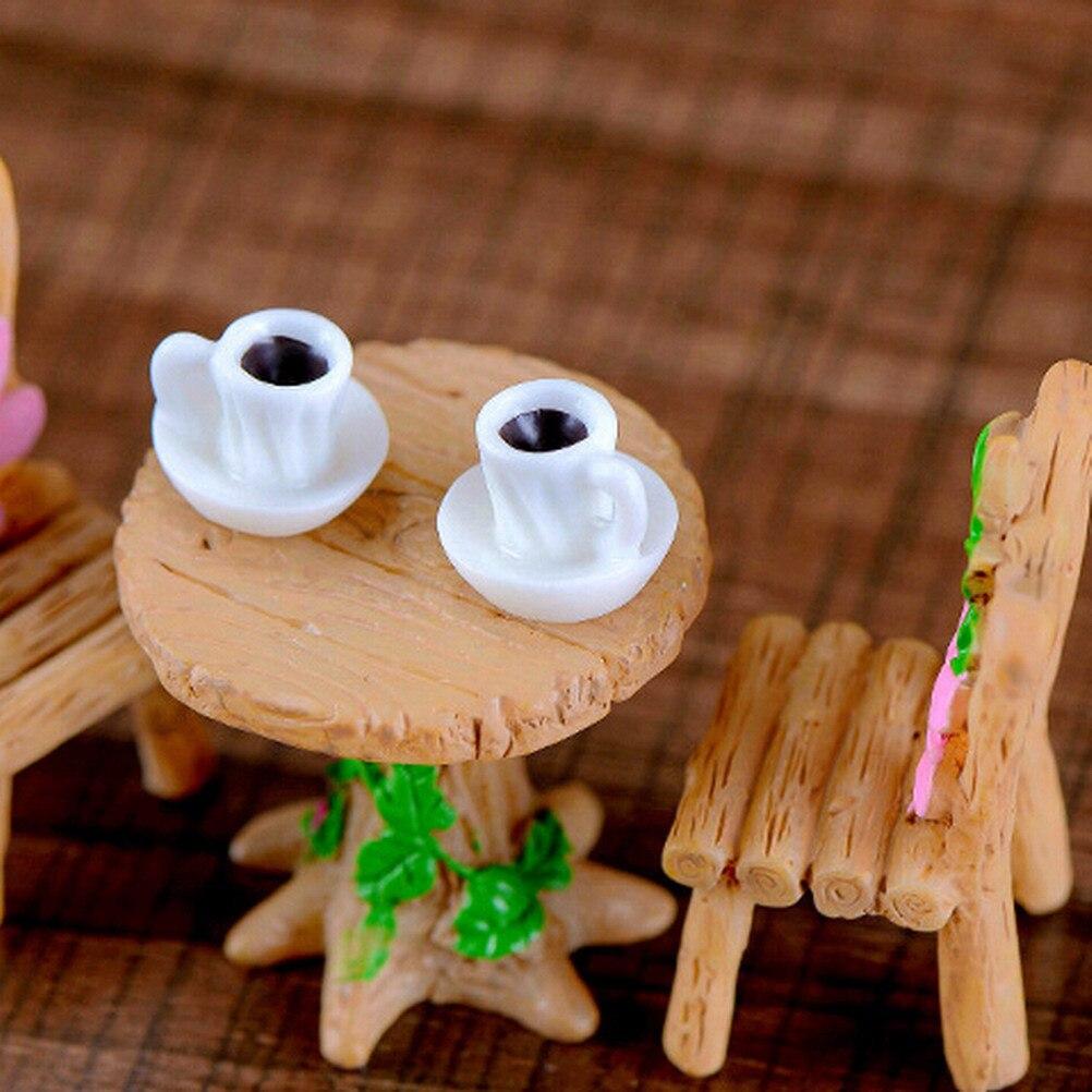 2pcs/set Mini Decor Plastic Figure Craft Kawaii A Cup Of Tea Model Miniature Figurine Home Garden Decoration Accessories