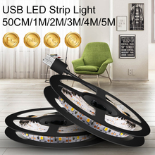 300LEDs Strip Led Light Tape USB 5V Ribbon Tape Brighter SMD2835 TV Backlight 5M Cold White Warm White Stair Bedside Night Lamp