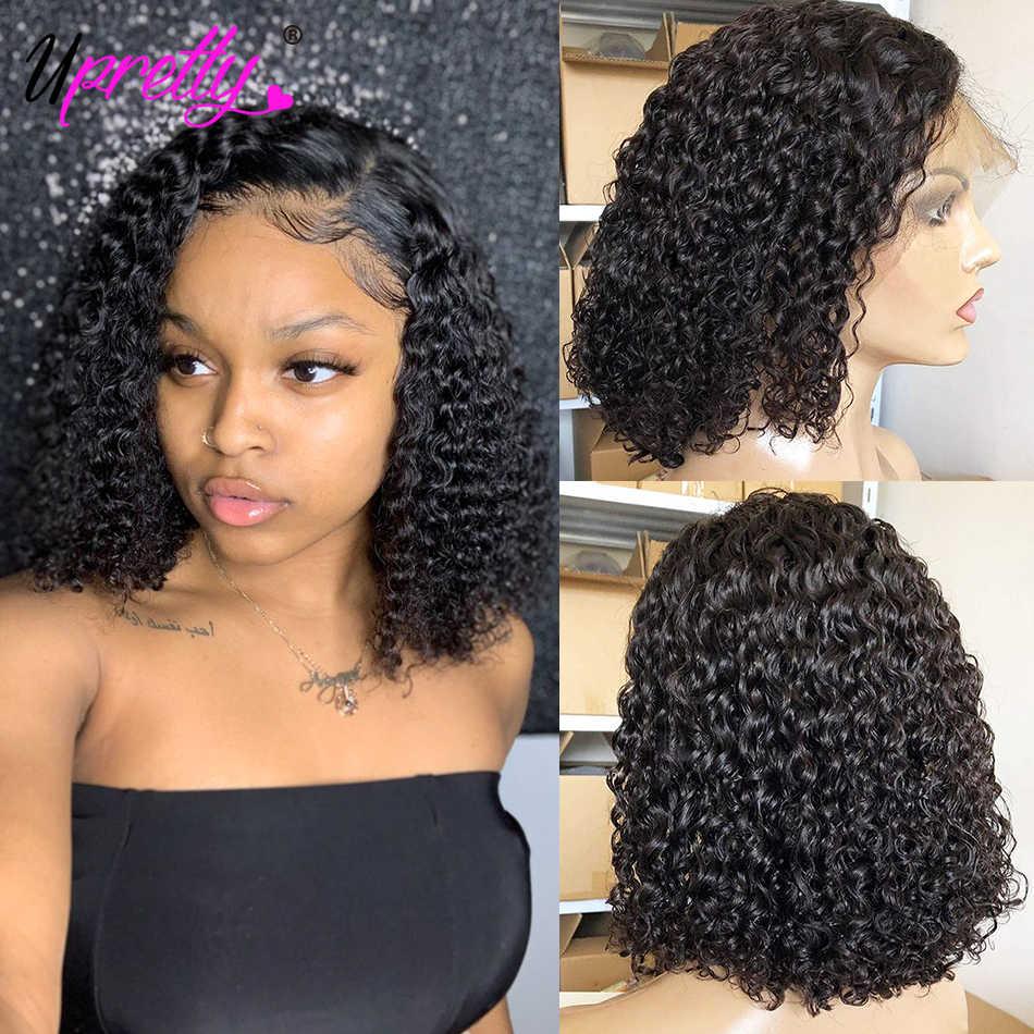 Upretty włosów brazylijski włosy peruka z kręconych włosów typu Kinky Pre oskubane pełna koronka ludzkich włosów peruki 200 gęstość bezklejowy Kinky kręcone ludzkie włosy peruki