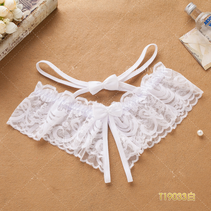 JSY Women Lace Open Crotch Panties White Straps Crotchless Brief Thong With Bow Tie Female Free Size Sexy T-back For Sex