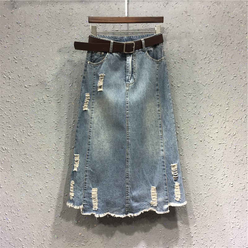 Autumn Clothing New Style Korean-style Large Size Fat Mm Denim Skirt Women's High-waisted With Holes Slimming A- Line Mid-length