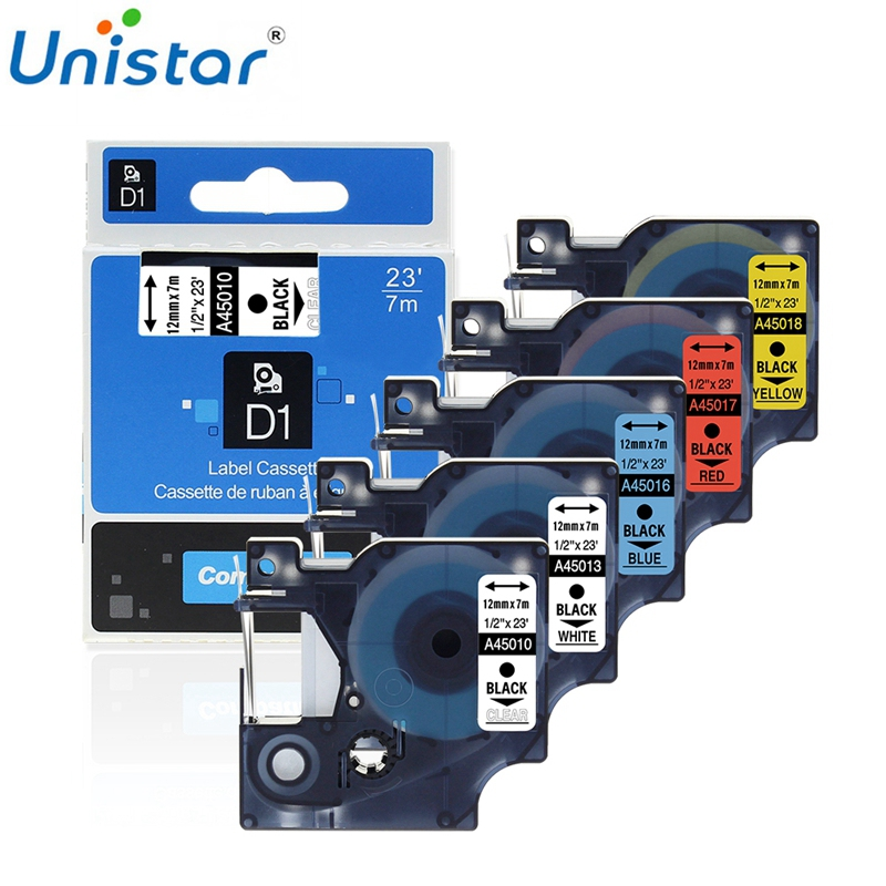 Unistar Compatible With Dymo Tape 12mm 45013 45010 45018 45023 Label Printer For LabelManager 210 280 300 450