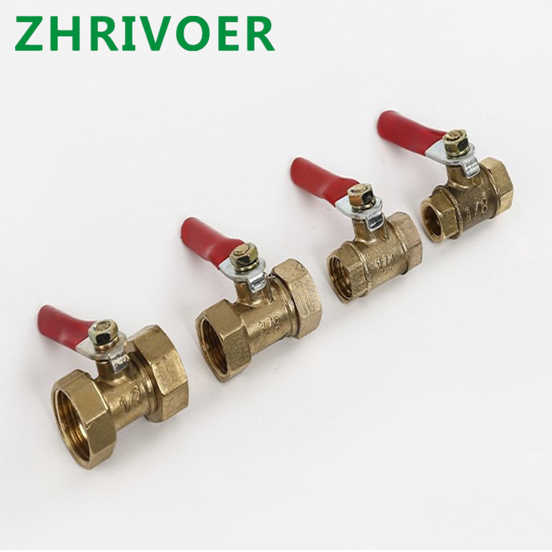 Female Thread Ball Valve Brass Connector Joint Copper Pipe Fitting Coupler Adapter 1/4'' 3/8'' 1/2''  Brass Ball Valve