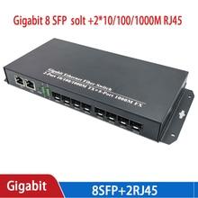 Media converter 8 sfp 2 rj45 gigabit optische faser schalter für ip kamera UTP Faser Optische schalter