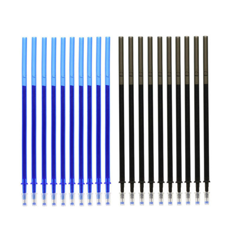 Student Erasable Pen Replacement All-Needle Tube 0.5 Black Blue Magic Rub Abrasion Thermal Erasable Refill Accessories 10 Pcs