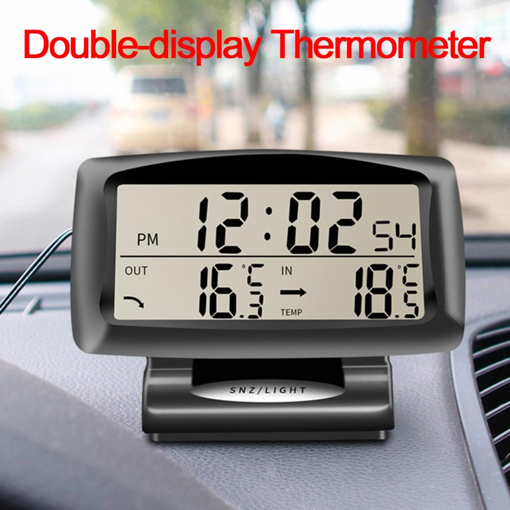 Dual Sensors LCD Blue Backlight Car Electronic Clock Temperature Meter Auto Indoor And Outdoor Thermometer