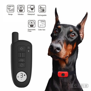 1000ft Pet Dog Training Collar IP67 Waterproof Rechargeable Electric Shock Vibration Sound Dogs Bark Collar Training Dogs