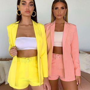 hot sale new 2019 ins explosion Women's clothing autumn long sleeve cardigan jacket shorts solid color two-piece Lady suit real