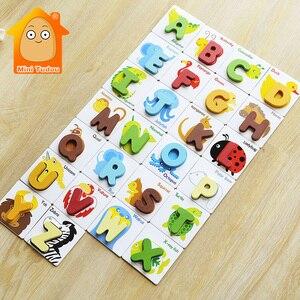 Детские деревянные 3D пазлы с буквами алфавита, детские цветные Обучающие Игрушки для раннего развития, подарки для детей