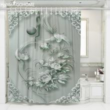 Classical Bohemian Flower Phoenix 3D Shower Curtain Drapes Polyester Fabric Bathroom Curtain Waterproof Bath Curtains & Hooks white embroidered short curtain for kitchen floral sheer tulle curtains for bedroom voile window screening curtain blinds drapes
