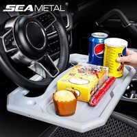Volante del coche bandeja con ruedas de rueda de Auto dirección escritorio portátil comida aperitivo comedor bebiendo bandeja de accesorios para automóvil Interior las mercancías