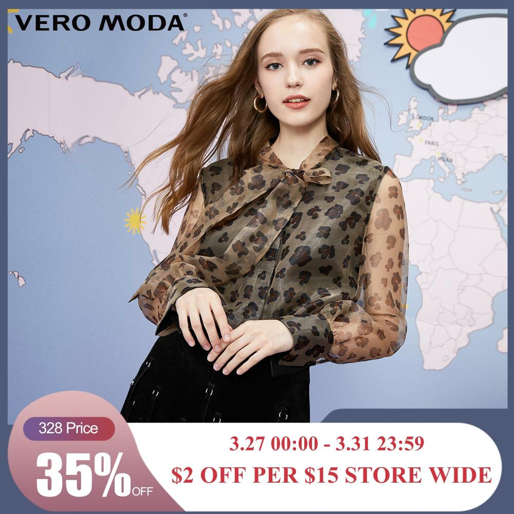 Vero Moda Women's Lace-up Neck Leopard Print Chiffon Shirt | 319305534
