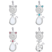 New Snap Button Pendant Crystal Cat Pendants Fit 18mm Metal Snap Buttons Jewelry Snap