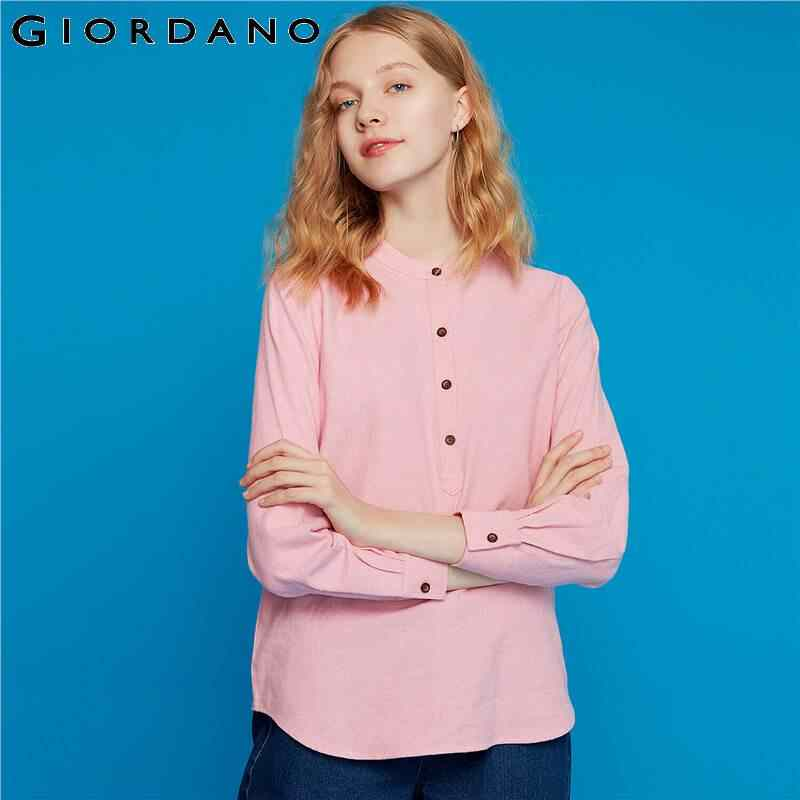Giordano Women Blouses Flannel Half Placket Crewneck Long-sleeve Blouses Women Contton Thinkness Soft Feminine Blouses 13349803