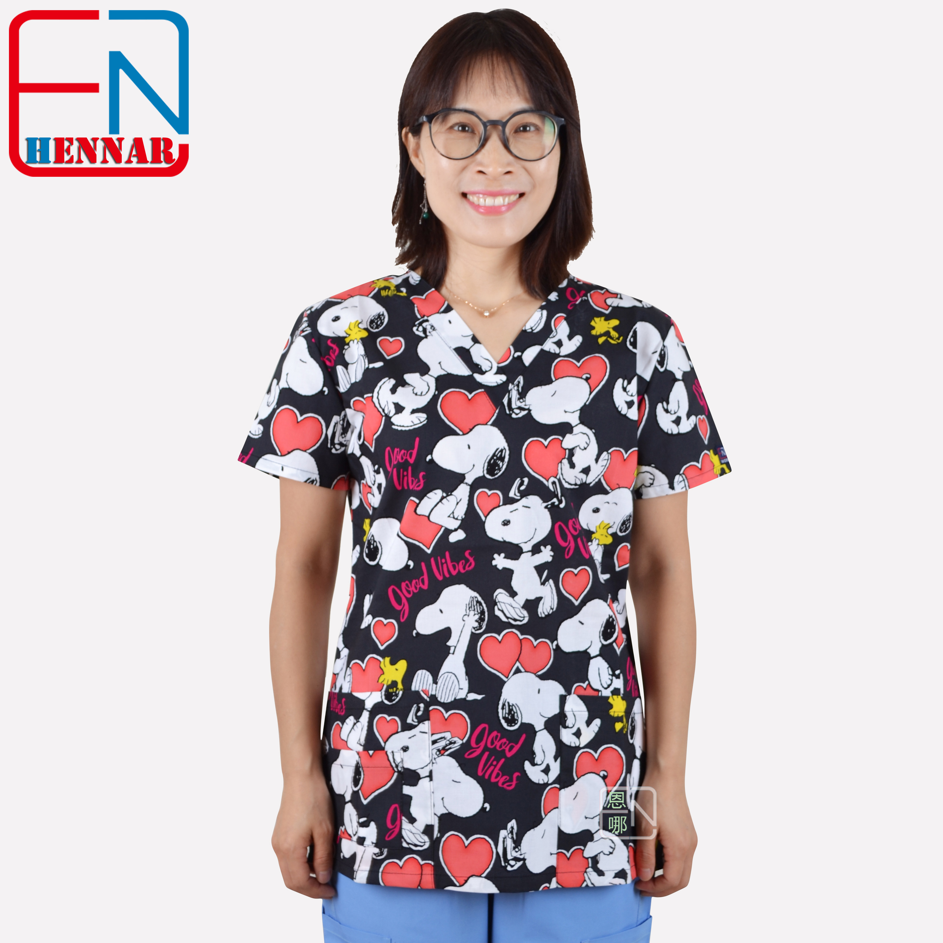 Hennar Medical Scrubs Nursing Scrubs Women Scrubs Nurse Medical Uniformes Dentist Uniform In 100% Cotton Dentist Scrub Top