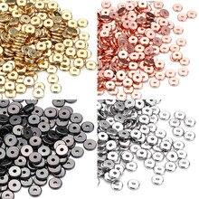Minhin 30/50 pçs 3/6/8mm silvers ouro espaçador grânulos europeus plana para diy jóias fazendo pulseira acessórios atacado