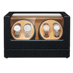JQUEEN automatyczna nakręcarka zegarków 4 + 0 czarny wzór strusia z wyjątkowo cichym silnikiem o dużej pojemności