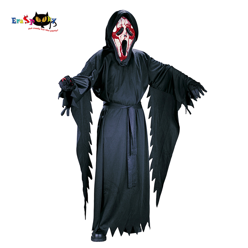 Eraspooky 7-10T Purim Carnival Cosplay Boys Hood Ghost Scream Face Costume Killer Robe Scary Halloween Costume For Kids Mask