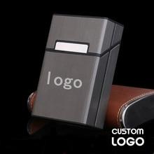 Чехол для сигарет с логотипом на заказ, алюминиевый сплав, индивидуальная сигаретная коробка, хранение табака, портативный креативный пода...