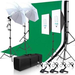Комплект освещения для фотостудии 2x3 м, система поддержки фона С трехцветным муслиновым фоном, зонт для софтбокса, штатив-Трипод