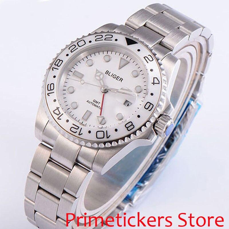 BLIGER 40mm white dial luminous saphire glass ceramic bezel automatic movement men's watch